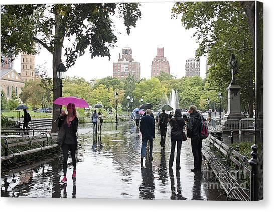 New York University Canvas Print - Rainy Washington Park  by David Bearden