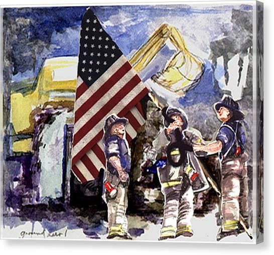 Raising The Flag At Ground Zero Canvas Print by Elle Smith Fagan