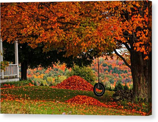 Raking's All Done... Canvas Print