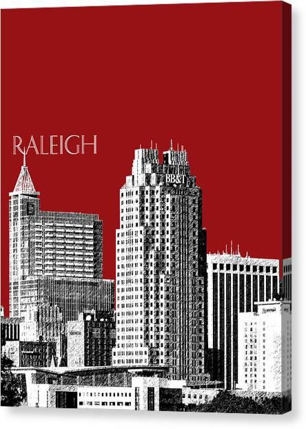 Pen Canvas Print - Raleigh Skyline - Dark Red by DB Artist