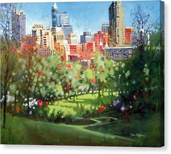 Raleigh Spring Skyline Canvas Print