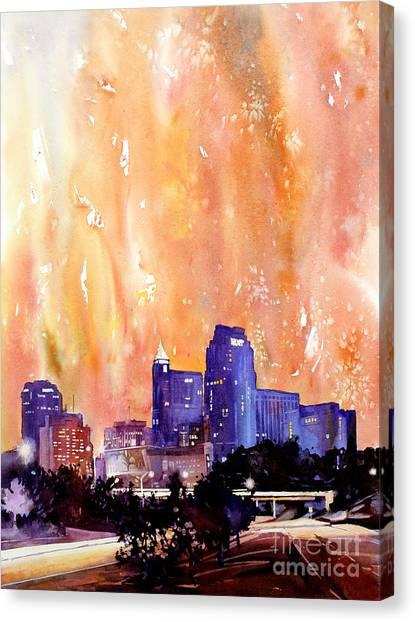 Raligh Skyline Sunset Canvas Print