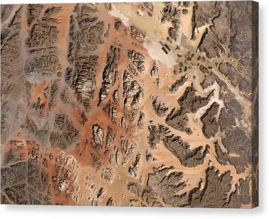 Satellite Canvas Print - Ram Desert Transjordanian Plateau Jordan by Anonymous