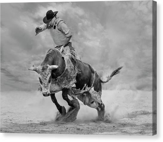 Cowboy Canvas Print - Ram Rodeo by Yun Wang
