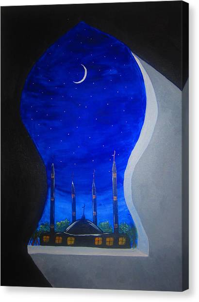 Ramadan Moon Canvas Print by Haleema Nuredeen