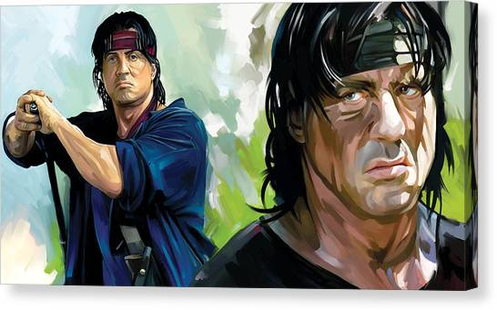 Sylvester Stallone Canvas Print - Rambo Artwork by Sheraz A