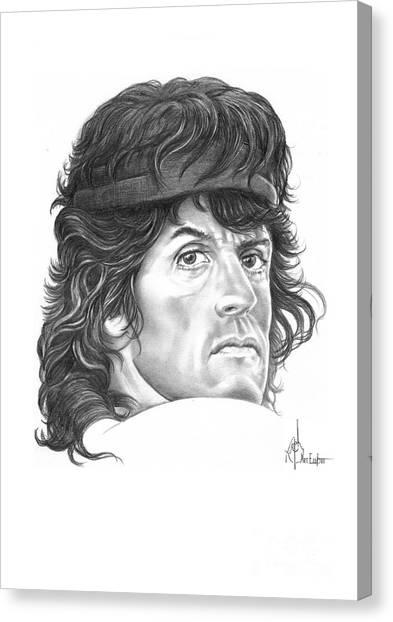 Sylvester Stallone Canvas Print - Rambo-sylvester-stallone by Murphy Elliott