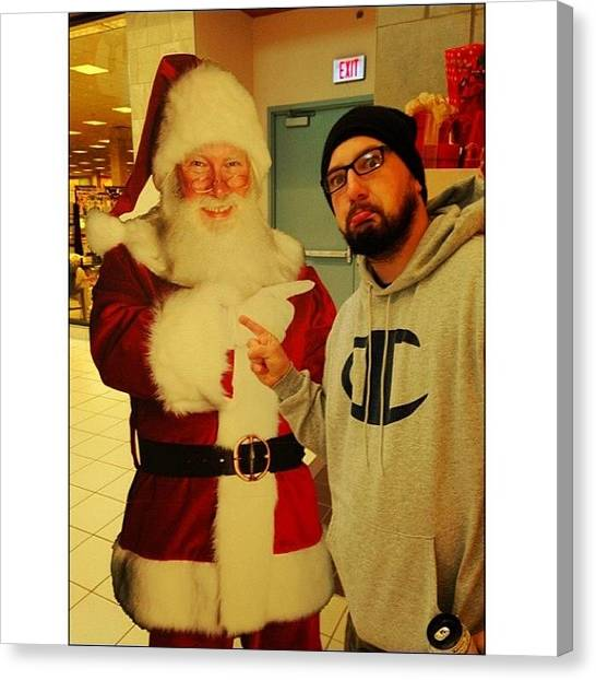 Santa Clause Canvas Print - Ran Into This Guy. Had To Drop Him My by Marcus Friedhofer