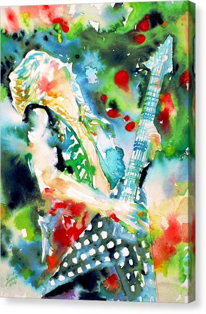 Randy Rhoads Playing The Guitar - Watercolor Portrait Canvas Print