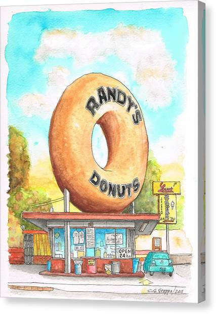 Randy's Donuts In Los Angeles - California Canvas Print