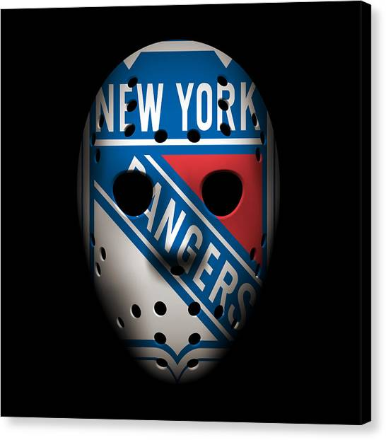 New York Rangers Canvas Print - Rangers Goalie Mask by Joe Hamilton