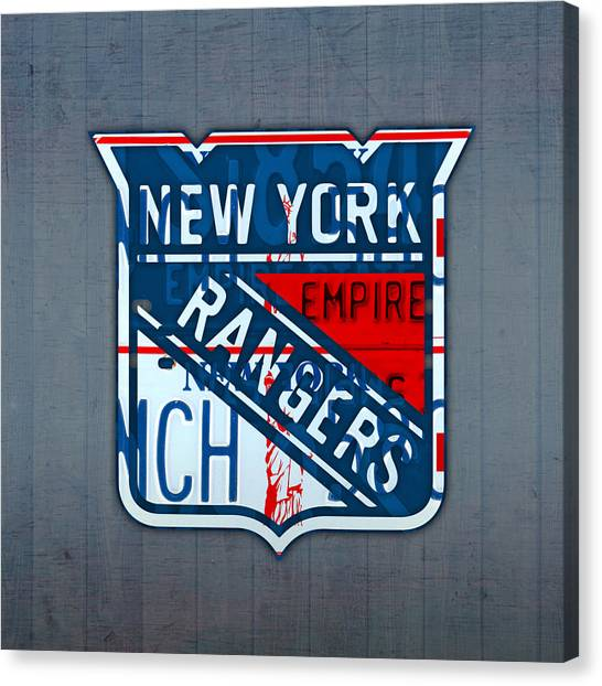 Hockey Teams Canvas Print - Rangers Original Six Hockey Team Retro Logo Vintage Recycled New York License Plate Art by Design Turnpike