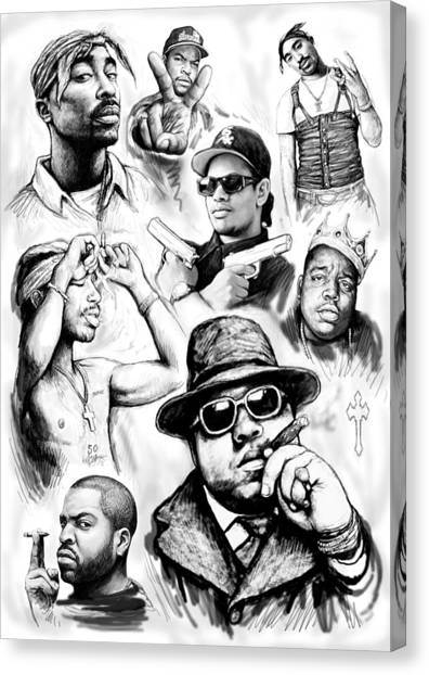 Rap group drawing art sketch poster canvas print by kim wang