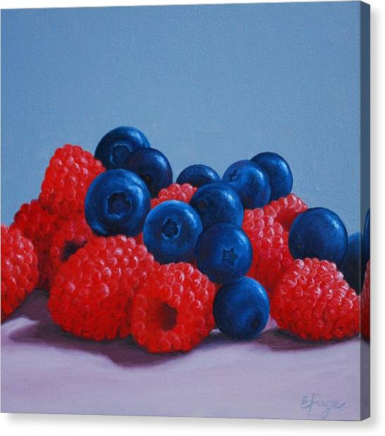 Raspberries And Blueberries Canvas Print