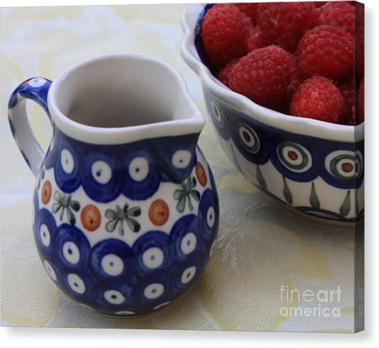 Raspberries With Cream Canvas Print