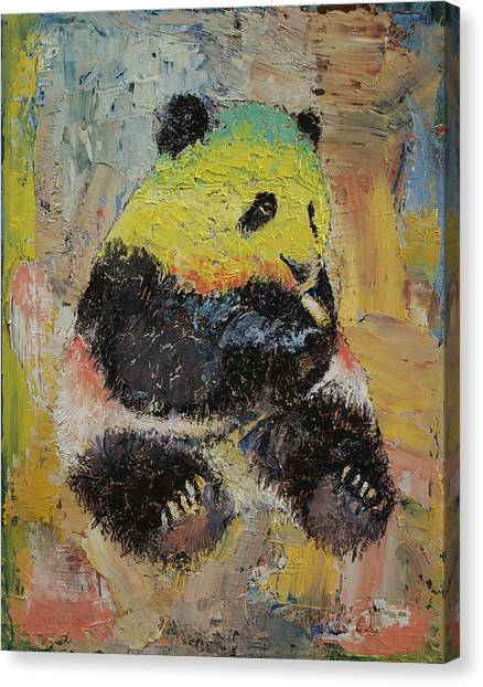 Marijuana Canvas Print - Rasta Panda by Michael Creese