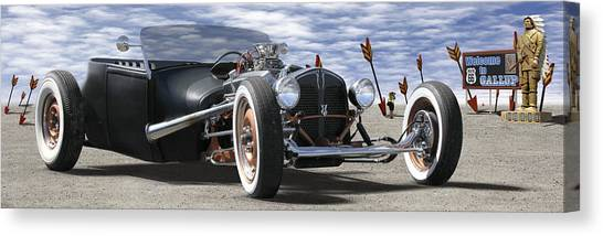 Street Rods Canvas Print - Rat Rod On Route 66 2 Panoramic by Mike McGlothlen