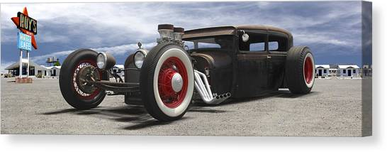 Street Rods Canvas Print - Rat Rod On Route 66 Panoramic by Mike McGlothlen