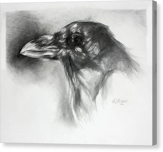 Raven Canvas Print - Raven Head by Derrick Higgins