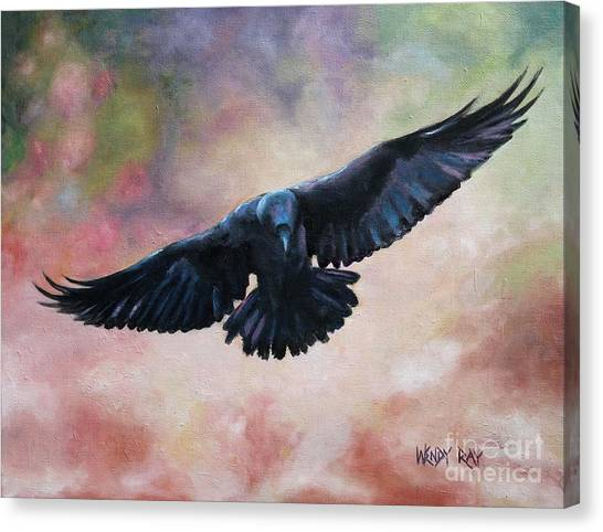 Raven In Flight Canvas Print