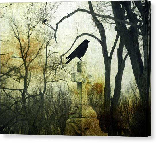 Ravens In Graveyard Canvas Print - Raven On Cross by Gothicrow Images
