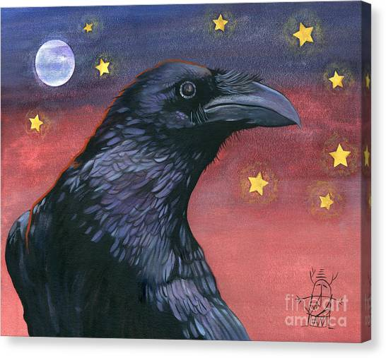 Raven Steals The Moon - Moon What Moon? Canvas Print