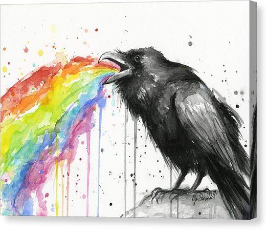 Ravens Canvas Print - Raven Tastes The Rainbow by Olga Shvartsur