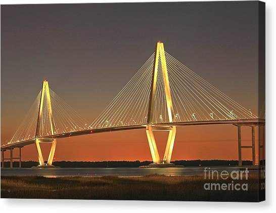 Ravenel Bridge At Dusk Canvas Print