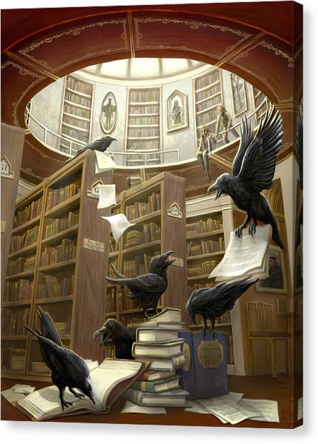 Ravens Canvas Print - Ravens In The Library by Rob Carlos