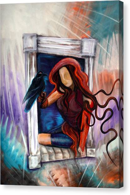 Raven's Wish Canvas Print by Laura Barbosa