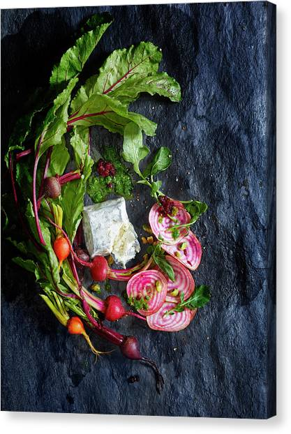 Raw Beeet Salad Ingredients Canvas Print by Annabelle Breakey