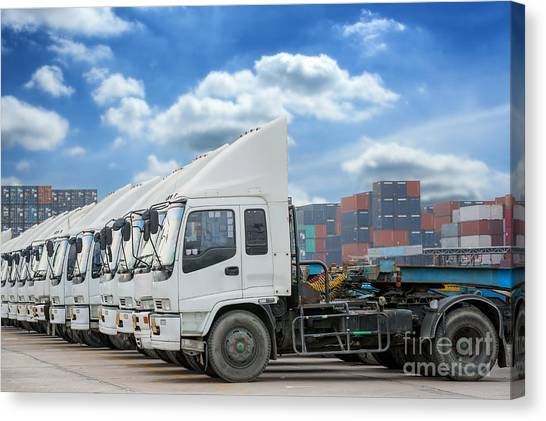 Forklifts Canvas Print - Raw Of Truck In Container Depot  by Anek Suwannaphoom