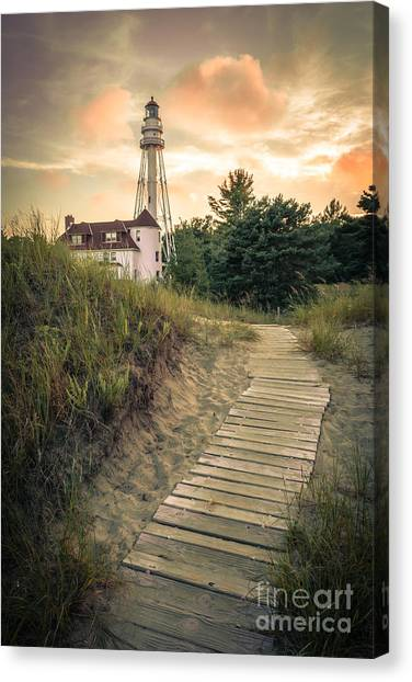 Rawley Point Lighthouse Under Smoldering Skies Canvas Print