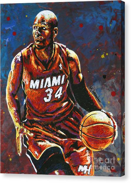 Milwaukee Bucks Canvas Print - Ray Allen by Maria Arango