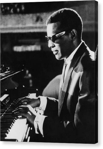 Electronic Instruments Canvas Print - Ray Charles At The Piano by Underwood Archives