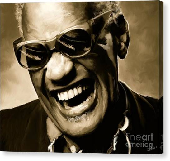 Jazz Canvas Print - Ray Charles - Portrait by Paul Tagliamonte