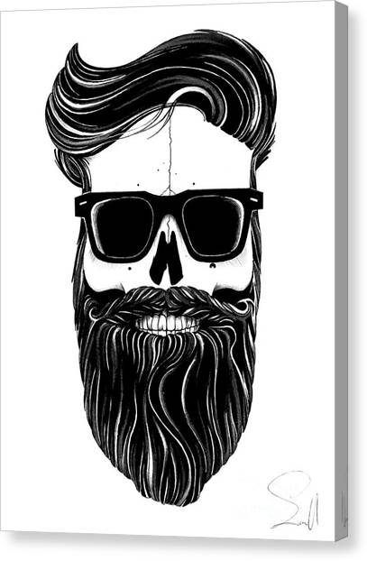 Ballpoint Pens Canvas Print - Ray's Black Bearded Skull  by Nils Leemans