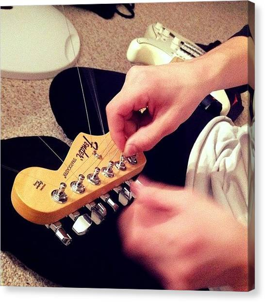 Stratocasters Canvas Print - Re Stringing The Strat >>> by Max Tuhey
