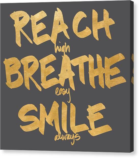 Breathe Canvas Print - Reach, Breathe, Smile by South Social Studio