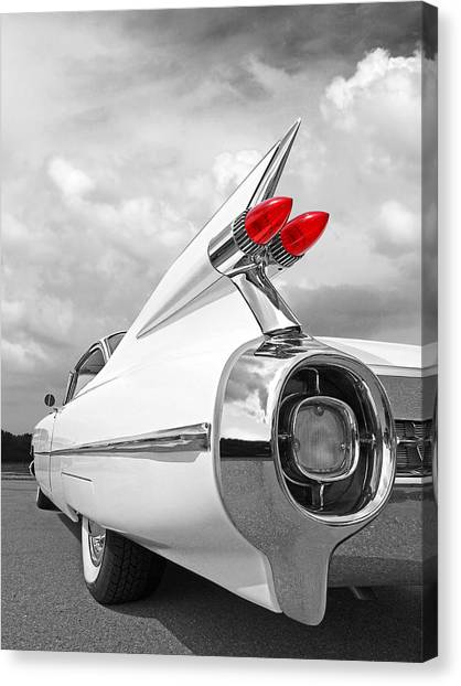 Reach For The Skies - 1959 Cadillac Tail Fins Black And White Canvas Print