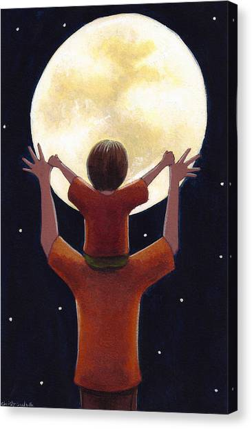 Dad Canvas Print - Reach The Moon by Christy Beckwith