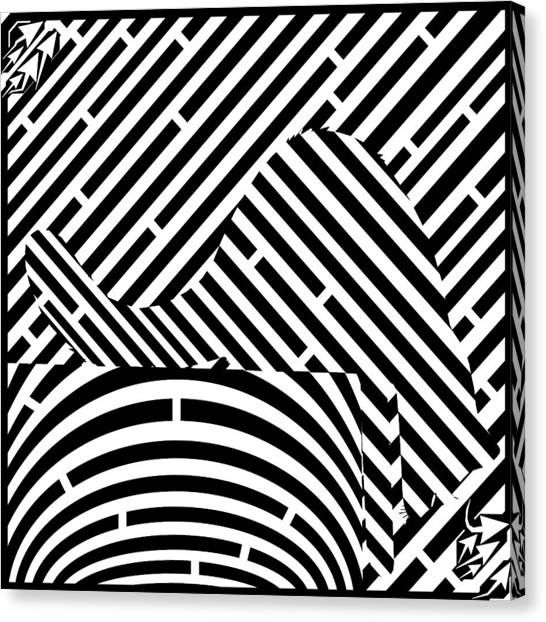 Reaching Cat Maze Op Art Canvas Print by Yonatan Frimer Op Art Mazes