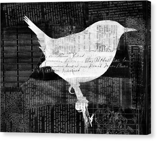 Black And White Canvas Print - Reader Bird by Georgia Fowler
