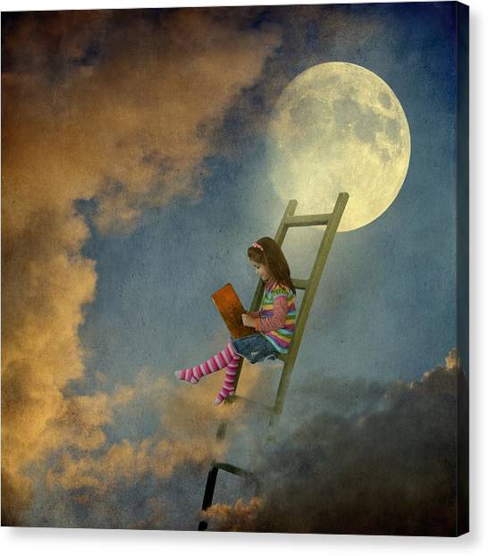 Reading At Moonlight Canvas Print