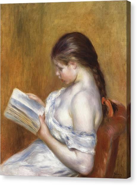 Bare Shoulder Canvas Print - Reading by Pierre Auguste Renoir