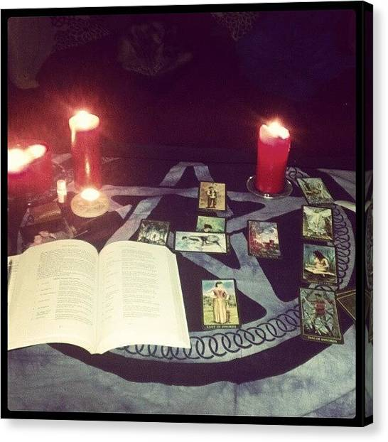 Witches Canvas Print - Reading The Cards #tarot #divination by Bee Mcmahon