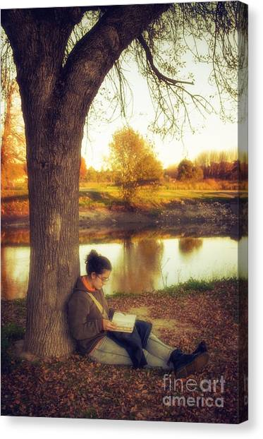 Teenager Canvas Print - Reading Under The Tree by Carlos Caetano