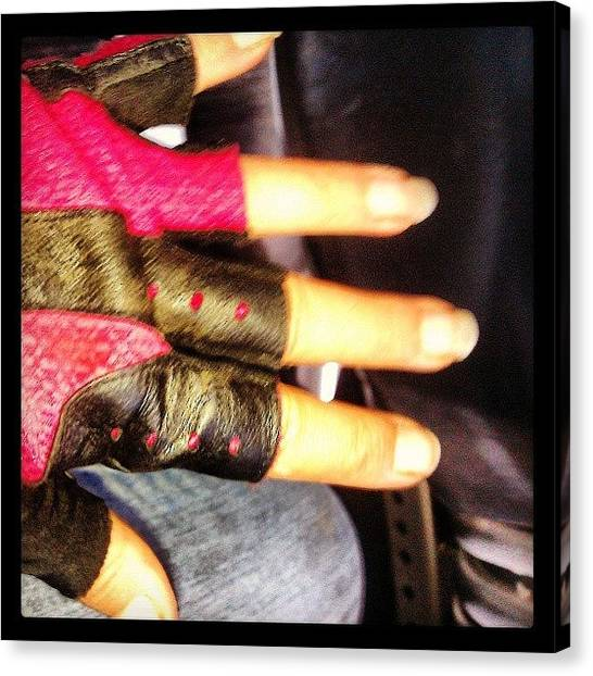 Gloves Canvas Print - #ready #pump #muscles #glove #bike by Rachel Friedman