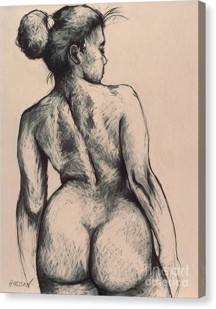 realistic nude figure drawing - Katja on Beige Canvas Print