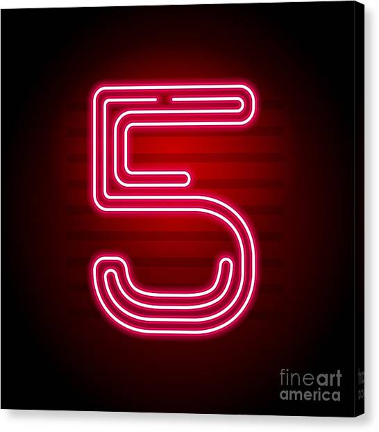 Neon Canvas Print - Realistic Red Neon Number. Number With by Oleg Vyshnevskyy